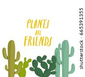 simple illustration with cactus ...   Shutterstock .eps vector #665391355