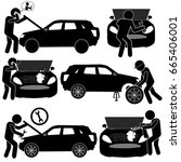 auto service background with... | Shutterstock .eps vector #665406001