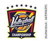 volleyball logo badge  american ... | Shutterstock .eps vector #665406391