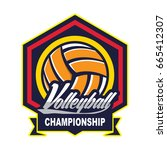 volleyball logo badge  american ... | Shutterstock .eps vector #665412307