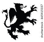 griffin silhouette. editable...   Shutterstock .eps vector #665415337