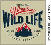 vintage vector of wilderness... | Shutterstock .eps vector #665417509