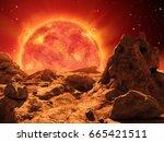 red giant star on the horizon...   Shutterstock . vector #665421511