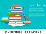 stack of books vector... | Shutterstock .eps vector #665424535