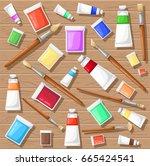 paint brush tubes set vector... | Shutterstock .eps vector #665424541