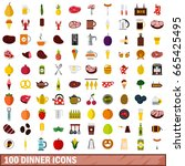 100 dinner icons set in flat... | Shutterstock .eps vector #665425495