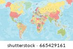 colored world map   detailed... | Shutterstock .eps vector #665429161