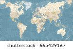 vintage world map   detailed... | Shutterstock .eps vector #665429167