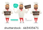 set of cartoon chef character... | Shutterstock .eps vector #665435671