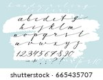 calligraphic hand drawn font.... | Shutterstock .eps vector #665435707
