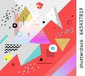 trendy memphis hipster... | Shutterstock .eps vector #665437819