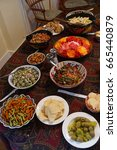 turkish meze appetizers and... | Shutterstock . vector #665440879