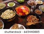 turkish meze appetizers and... | Shutterstock . vector #665440885