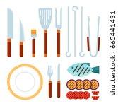 knifes  fork  whisk  spatula ... | Shutterstock .eps vector #665441431