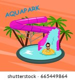 aquapark poster template with... | Shutterstock .eps vector #665449864