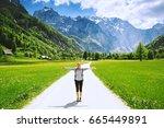 logar valley or logarska dolina ... | Shutterstock . vector #665449891