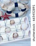 nautical style wedding favors | Shutterstock . vector #665452891