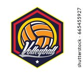 volleyball logo badge  american ... | Shutterstock .eps vector #665455927
