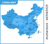 the detailed map of the china... | Shutterstock .eps vector #665465425