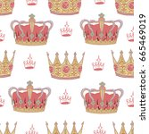 seamless background with royal... | Shutterstock .eps vector #665469019