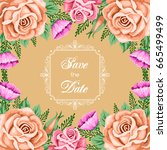 save the date card template... | Shutterstock .eps vector #665499499
