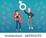 sexism or gender discrimination | Shutterstock .eps vector #665503195