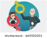 sexism or gender discrimination | Shutterstock .eps vector #665503201