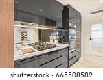 black color pantry cupboards... | Shutterstock . vector #665508589