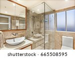 modern washroom  shower area... | Shutterstock . vector #665508595