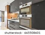 modern black color pantry... | Shutterstock . vector #665508601