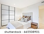 luxury bedroom including a bed... | Shutterstock . vector #665508901