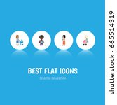 flat icon mother set of baby