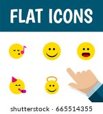 flat icon expression set of... | Shutterstock .eps vector #665514355