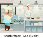 two cooks in the kitchen.... | Shutterstock .eps vector #665519584