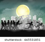 human running from zombie at... | Shutterstock .eps vector #665531851