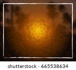 shiny floral mandala on sunset... | Shutterstock . vector #665538634