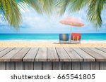old wooden table and beautiful... | Shutterstock . vector #665541805