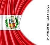 peru  flag of silk with... | Shutterstock . vector #665542729