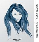 fashion illustration. hair... | Shutterstock .eps vector #665546905