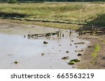 low tide with exposed mud at...   Shutterstock . vector #665563219