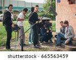 behind the scene. film crew... | Shutterstock . vector #665563459