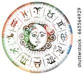 zodiac signs  horoscope  vector ... | Shutterstock .eps vector #665564929