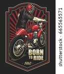 born to ride cafe racer | Shutterstock .eps vector #665565571