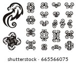 eagle set in tribal style. a...   Shutterstock .eps vector #665566075