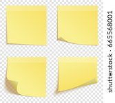 set of square yellow sticky... | Shutterstock .eps vector #665568001