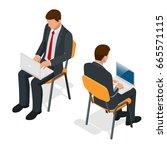 isometric man in suit sitting... | Shutterstock .eps vector #665571115