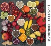 paleolithic diet food of fresh...   Shutterstock . vector #665571445