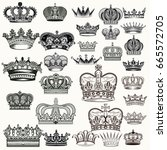 mega set of hand drawn crowns... | Shutterstock .eps vector #665572705