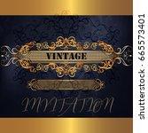 luxury menu design in blue and... | Shutterstock .eps vector #665573401