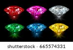 set of multicolored gemstones... | Shutterstock .eps vector #665574331